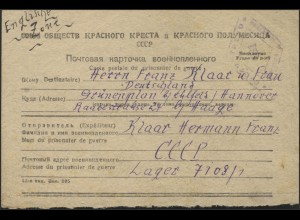 Kriegsgefangenenpost aus Rußland: Lager 7108/1 am 20.1.48 n.Deutschland/Hannover