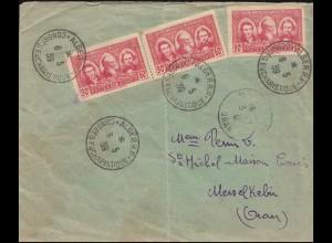 Algerien 155 Sahara-Pioniere Brief SSt ALGER Konferenz 6.5.39 nach Mers-el-Kebir