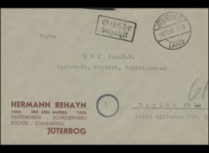 Gebühr-Bezahlt-Stempel Brief Jüterbog Land 5.11.45 nach Berlin