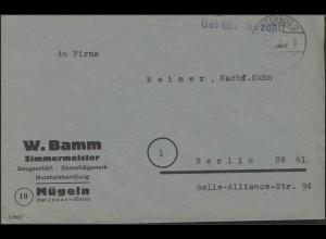 Gebühr-Bezahlt-Stempel Brief Baugeschäft Mügeln/Jesssen, Jüterbog 1.11.45
