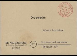 Gebühr-Bezahlt Drucksache Die Neue Zeitung München 1.5.48