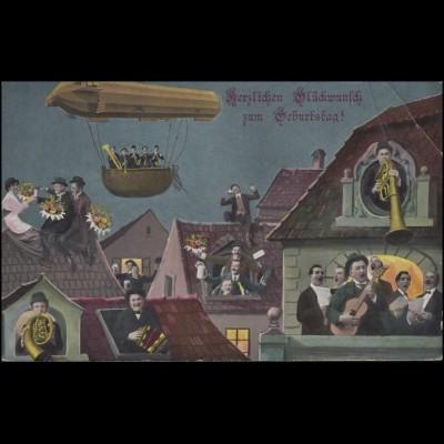 Ansichtskarte Geburtstagskarte mit Fesselballon und Musikanten, GÖRLITZ 19.1.14
