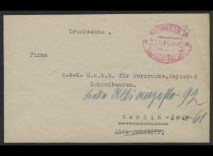 Gebühr-Bezahlt Drucksache Nürnberg Dezember 1945 nach Berlin
