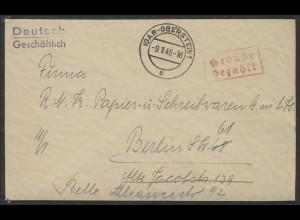 Gebühr-Bezahlt Brief Idar-Oberstein 9.1.46 nach Berlin