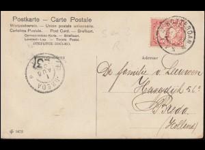 Firmenlochung/Perfin S&ZR auf 50 Ziffer auf AK Frau mit Kind ROTTERDAM 1.8.1906