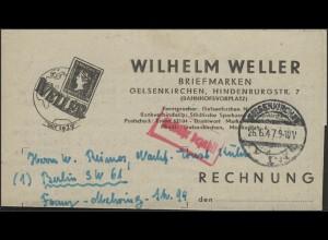 Gebühr-Bezahlt Rechnung Briefmarkenhandel Gelsenkirchen 26.6.47 n.Berlin