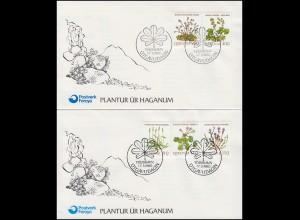 Färöer-Inseln 48-52 Feldblumen Wild flowers, Satz auf 2 Schmuck-FDC 17.3.80