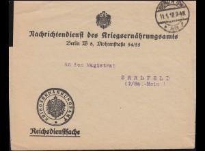 Reichsdienstsache Nachrichtenblatt des Kriegsernähungsamts BERLIN 11.1.1918