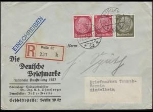 Hindenburg-MiF 2x12 + 30 Pf, R-Brief Briefmarkenausstellung BERLIN 28.5.37