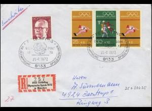 Olympia-Zusammendruck mit Sonder-R-Zettel Olympia, R-Brief SSt Feldafing 21.8.72