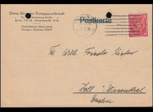 Firmenlochung UB auf Posthorn 10 Mark als EF auf Drucksache BERLIN 20.1.23