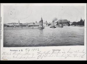 Ansichtskarte Konstanz am Bodensee - Hafeneinfahrt 4.9.02 nach ST. JOHANN 5.9.02