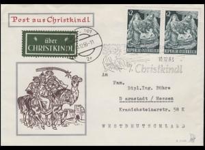 Weihnachten Christkindl Brief SSt Christi Geburt 10.12.63 mit Leitzettel