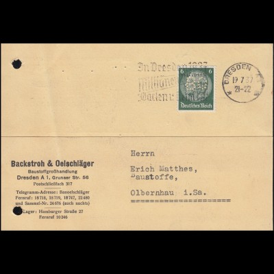 Firmenlochung BO auf Hindenburg-Marke 6 Pf als EF auf Postkarte DRESDEN 19.7.37