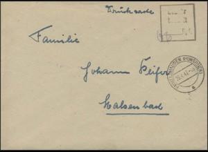 Gebühr-bezahlt-Stempel Brief Emmelshausen 29.4.1947