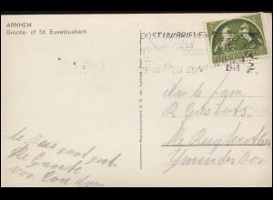 Firmenlochung/Perfin S.B. auf 411 Pferde AK Eusebius-Kirche ARNHEM 15.4.44
