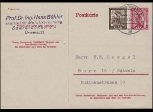 Saarland Postkarte P 34II Universität mit Zusatzfrankatur, SAARBRÜCKEN 9.9.1952