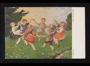 Künstler-AK F. Schenkel: Ringel, Ringel, Reihe - Kinderreigen, ungebraucht