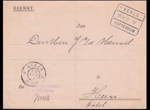 Dienstpost Registrierung Bahnpost VENLO-ROTTERDAM 29.4.1912 nach HEEZE 29.4.12