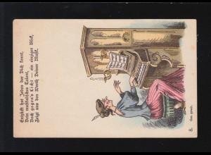 AK Karikatur Klavierspiel musikalisches Talent alte Jungfer, ungebraucht