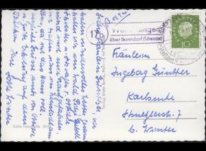 Landpost 17b Wellendingen über Bonndorf Schwarzwald EF AK SSt BONNDORF 14.9.60