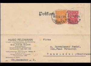 Firmenlochung HF auf 205+206 Posthorn MiF auf Postkarte MÜLHEIM-RUHR 28.12.22