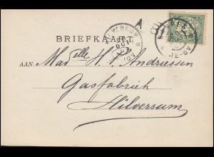 Firmenlochung/Perfin K auf 52 Ziffer auf Foto-AK Dampfer aus KAMPEN 20.10.1901