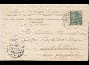 Firmenlochung/Perfin K auf 52 Ziffer, AK Berlin Am Gleisdreieck, AMSTERDAM 1905