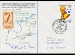 Luftschiffspost DKL 6 D-LDFO Fußball-WM Spanien SSt SABADELL Zeppelin 23.6.1982