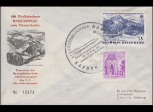 Österreich Großglockner Raketenpost Brief MOOSERBODEN 23.6.1962 n. Kaprun 25.6.
