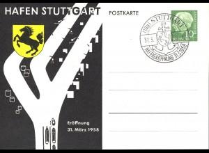 PP 8/11 Heuss 10 Pf. Hafen Stuttgart 1958 Wappen, SSt Hafeneröffnung 31.3.58