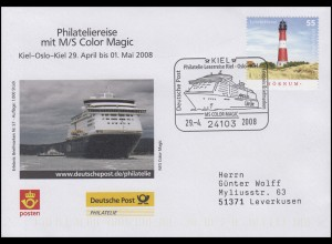 Philateliereise MS Color Magic Kiel-Oslo,Auflage 1000! SSt Kiel Schiff 29.4.2008