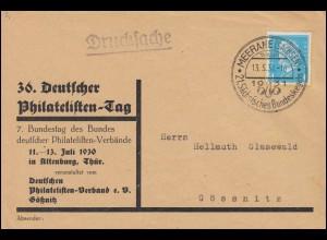 454 Hindenburg EF Drucksache Philatelistentag SSt MEERANE Bundeskegeln 13.5.31
