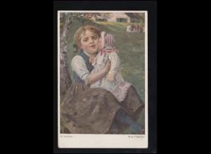 Künstler-AK R. Voelcker: Kinderlust Mein Püppchen, Verlag O.G.Z.-L., ungebraucht