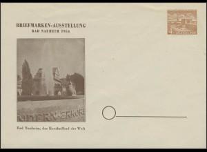 PU 2/6 Berliner Bauwerke 4 Pf Briefmarkenausstellung Bad Nauheim 1954, **