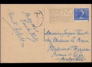 Firmenlochung/Perfin S.B. auf 469 Ziffer auf AK Im Hafen von AMSTERDAM 4.8.49