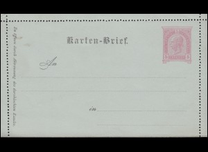 Österreich Kartenbrief K 22 Franz Joseph 5 Kreuzer deutscher Text, ungebraucht
