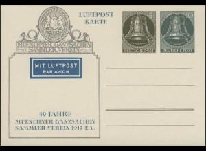 PP 13 Freiheitsglocke Klöppel rechts 5 und 10 Pf Ganzsachenverein München, **