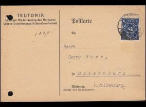 Firmenlochung TVL auf 228 Posthorn 6 Mark ala EF auf Postkarte LEIPZIG 5.12.22