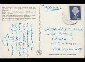 Firmenlochung/Perfin K auf 623 Juliana auf AK KLM-Flugzeuge SCHIPHOL 1956