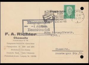 Firmenlochung FAR auf Hindenburg 5 Pf. als EF auf Orts-Postkarte CHEMNITZ 3.6.30