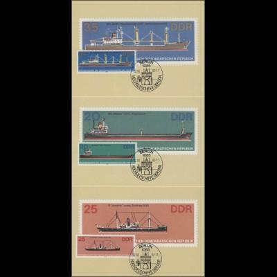 2709-14 Hochseeschiffe 1982 - Satz auf Wermsdorf-Maximumkarten