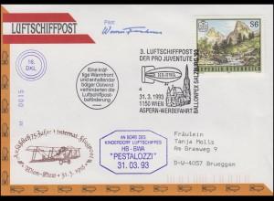 Luftschiffspost DKL 16 PESTALOZZI Wien-Kiew und Pro Juventute SSt WIEN 31.3.1993