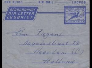 Südafrika Aerogramm SOUTH AFRICA 6 d Blau VANDERBIJLPARK 13.12.1956 nach Holland