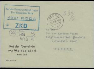 ZKD-Brief Rat der Gemeinde Weickesdorf Post Roda als Orts-Brief ZEITZ 20.7.65