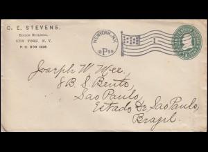 USA-Umschlag 1 Cent mit Flaggenstempel NEW YORK 1899 ohne Datum nach Brasilien