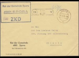 ZKD-Brief Rat der Gemeinde Spora als Orts-Brief ZEITZ 16.6.65 an Rat des Kreises