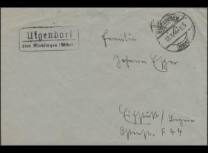 Feldpostbrief mit Landpost -Stempel Uigendorf über Riedlingen/Württem. 12.1.44