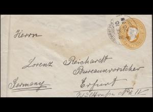 Indien Umschlag TWO ANNAS SIX PENCE gelborange, COIMBATORE 2.9.1910 nach Erfurt
