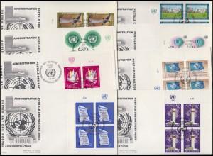 UNO Genf 1-8 Jahrgang 1969 als ER-Viererblöcke mit TAB auf 8 Schmuck-FDC GENF